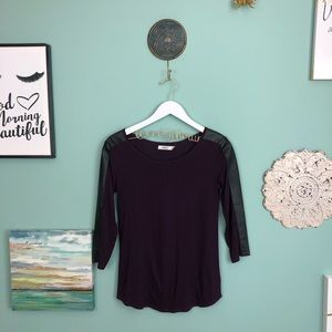 Aiko Purple and Black Colorblock Top S G6